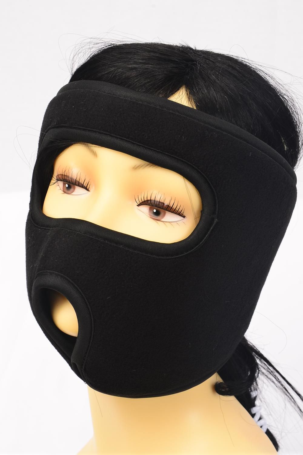 Fleece Mask Black Heavy Weight/DZ **Black**Hang Tag  With OPP Bag & UPC Code