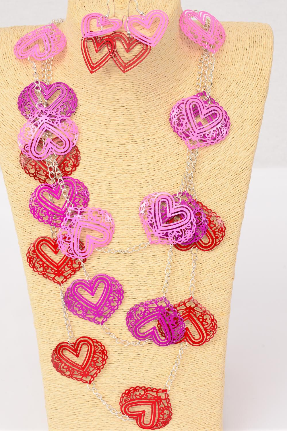 "Necklace Sets Bunch Color Filigree Hearts/DZ Size-42"" Long,6 Red,3 Fuchsia,3 Pink Mix,Hang tag & OPP bag & UPC Code -"