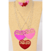 "Necklace Sets Silver Chain Enamel Heart Pendant/DZ 30"" Long,Pendant Size-2.75""x 2.5"" Wide,6 Red,3 Pink,3 Fuchsia Color Mix,hang tag & OPP bag & UPC Code -"