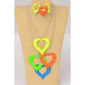 """Necklace Sets 32 inch Chain Large Enamel Neon Heart Pendant/DZ Pendant Size-2.75""""x 2.5"""" Wide,Earrings-1.25"""" Wide,30"""" Chain,3 of each Color Asst,Hang tag & OPP bag & UPC Code"""