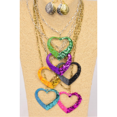 "Necklace Sets 24 inch Thick Chain Glitter & Enamel Glitter Heart Pendant/DZ Pendant Size-2.5""x 2"" Wide,2 of each Color Asst,6 Gold & 6 Silver Mix,Hang tag & OPP bag & UPC Code -"