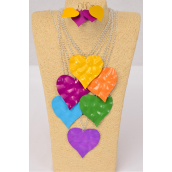 "Necklace Sets Silver Chain Color Heart Metal Pendant/DZ Pendant Size-2.75""x 2.5"" Wide,30"" Long Chain,2 of each Color Asst,Hang Tag & OPP bag & UPC code -"