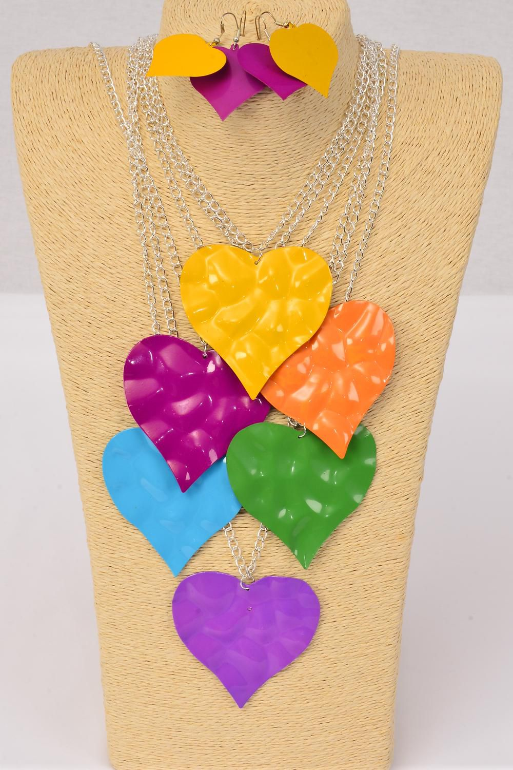 "Necklace Sets Silver Chain Enamel Heart Metal Pendant/DZ Pendant Size-2.75""x 2.5"" Wide,30"" Long Chain,2 of each Color Asst,Hang Tag & OPP bag & UPC code -"
