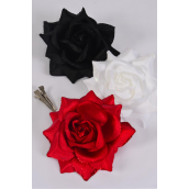 "Flower Silk Tea-Rose Large Glitter Trim Red White Black Asst/DZ Size-5"",Alligator Clip & Brooch,4 Red,4 White,4 Black,4 of each Color Asst,Hang Tag & UPC Code,W Clear Box"