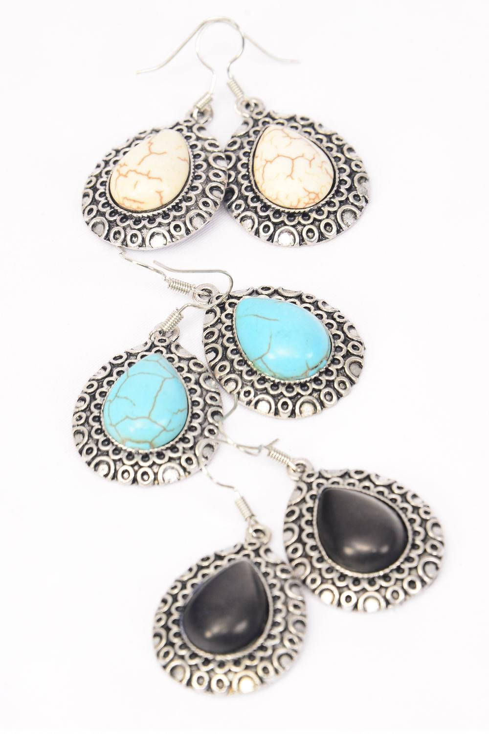"Earrings Metal Antique Teardrop Semiprecious Stone/DZ **Fish Hook** Size-1.25""x 1"" Wide,3 Black,3 Ivory,6 Turquoise Asst,Earring Card & OPP Bag & UPC Code -"