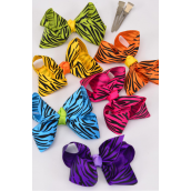 "Hair Bow For Kids Grosgrain Bow-tie Multi Zebra Prints/DZ **Multi** Alligator Clip,Size-3""x 2"" Wide,2 White,2 Fuchsia,2 Blue,2 Yellow,2 Purple,1 Lime,1 Orange, Asst,Display Card & UPC Code,Clear Box -"