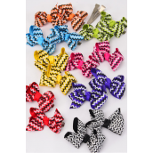 "Hair Bow 24 pcs Chevron Multi Grosgrain Bow-tie/DZ **Multi** Alligator Clip,Size-3 x 2"" Wide,2 White,2 Hot Pink,2 Blue,2 Purple,2 Yellow,1 Orange,1 Lime,7 Color Asst,Clip Strip & UPC Code,12 pair=Dozen"