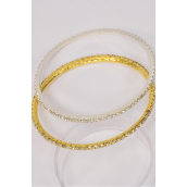"Bangle Rhinestones/PC Size-3"" Dia Wide,Opp Bag & UPC Code,choose Gold Or Silver Finish"