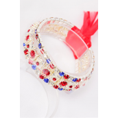 Bracelet Trio Rhinestone W Ribbon Stretch/PC **Stretch** Red Blue Clear Stone Mix,Display Card & OPP bag & UPC Code -