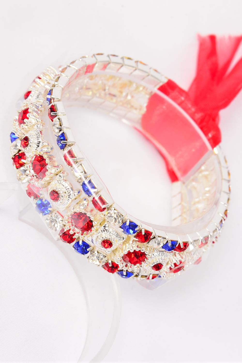 Bracelet Patriotic Flag Color Trio Layered Rhinestone Ribbon Stretch Re White Royal Mix/PC **Stretch** Red Royal Blue Clear Stone Mix,Display Card & OPP bag & UPC Code -