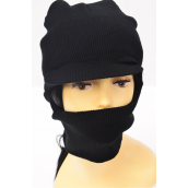 Winter Knitted Black Hat w Visor Polyester Heavy Weight/DZ With OPP Bag & UPC Code -