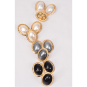 "Earring & Ring Sets Pearl Oval/DZ Pearl Size-1.25""x 1"" Wide,Ring Adjustable,3 White,3 Cream,3 Gray,3 Black,4 Color Mix,Display Card & OPP bag & UPC Code"