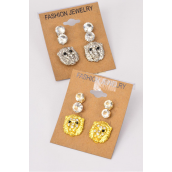 Earrings 3 Pair Metal Lions & Rhinestone Studs/DZ **Post** 6 Gold & 6 Silver Mix,Earring Card & OPP Bag & UPC Code -