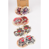 "Earrings Seashell Skull Print/DZ **Fish Hook** Size-2"" Wide,3 of each Patterns Mix,Earring Card & Opp Bag & UPC Code"