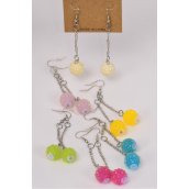 "Earrings Poly Tiffany Ball Candy Color Mix/DZ **Fish Hook** Size-2"" Long,2 of each Color Asst,Earring Card & Opp Bag & UPC Code"