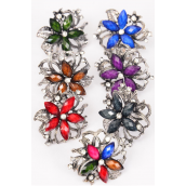 "Rings Flower Marble Clear Rhinestones Antique Finish/DZ **Adjustable** Flower Size-1.25"" Wide,2 Multi,2 Black,2 Red,2 Brown,1 Purple,2 Royal Blue,1 Green,7 Color Asst."