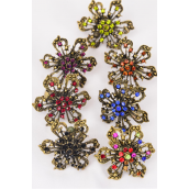 "Rings Antique Flower Color Rhinestones Adjustable/DZ **Adjustable** Flower Size-1.25"" Wide,2 Multi,2 Black,2 Red,2 Brown,2 Purple,1 Royal Blue,1 Green,7 Color Asst."