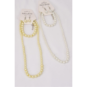 "Necklace Sets 3 pcs 8 mm Glass Pearls 20in Long Grsduated From 10 mm/DZ 20"" Long,Bracelet is Stretch,Graduate From 5,6,8,10 mm Glass Pearls,6 White & 6 Cream Pearl Mix,Hang Tag & OPP Bag & UPC Code -"