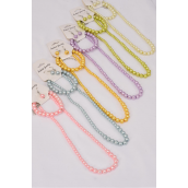 "Necklace Sets 3 pcs 8 mm Glass Pearls 20in Long Grsduated From 10 mm Pastel/DZ **Pastel** 20"" Long,Bracelet is Stretch,2 Pink,2 Blue,2 Lavender,2 Lime,2 Yellow,2 Cream Color Mix,Hang Tag & OPP bag & UPC Code"