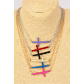 "Necklace Chain Enamel Sideway Cross Multi/DZ Cross-1.5""x 1"" Wide,20"" Long,6 Gold & 6 Silver Mix,2 of each Color Mix,hang -"
