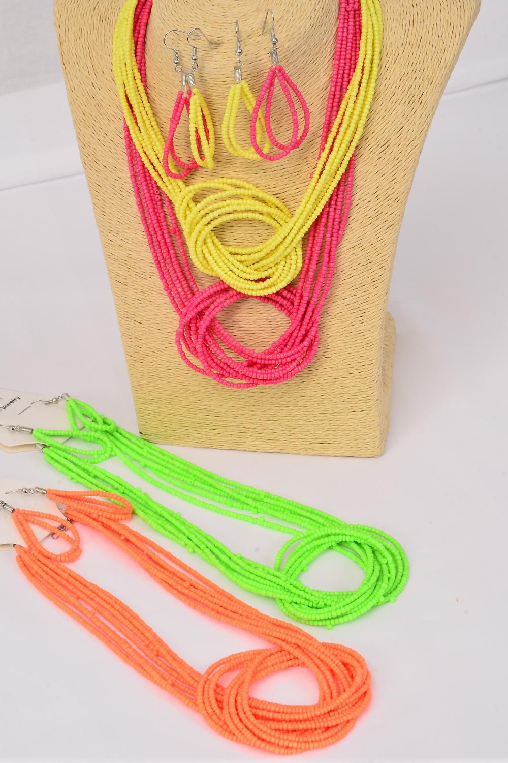 "Necklace Bunch Indian Beads W Knot Neon/DZ Size-18"" long,3 of each Color Asst,Hang Tag & OPP Bag & UPC Code -"