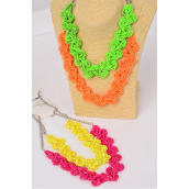"Necklace Bunch Indian Beads Braid Flowers Neon/DZ **Neon** Size-18"" long,3 Of each Color Asst,Hang Tag & OPP Bag & UPC Code"