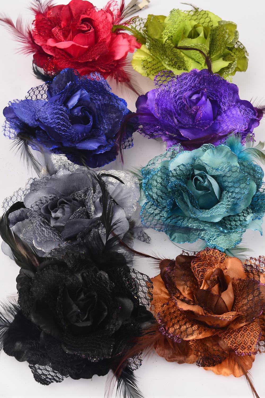 Silk Flower Rose Mesh Feathers Dark Multi Alligator Clipdz Dark