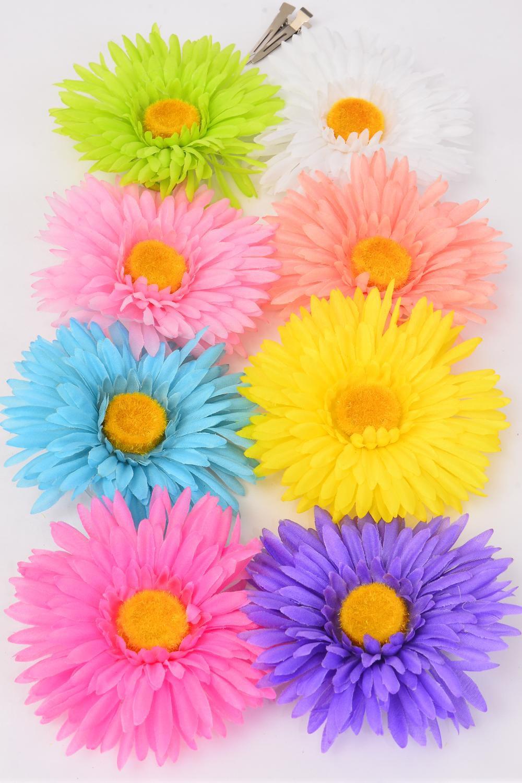 Silk Flower Large Daisy Pastel Life Like Alligator Clip Brooch