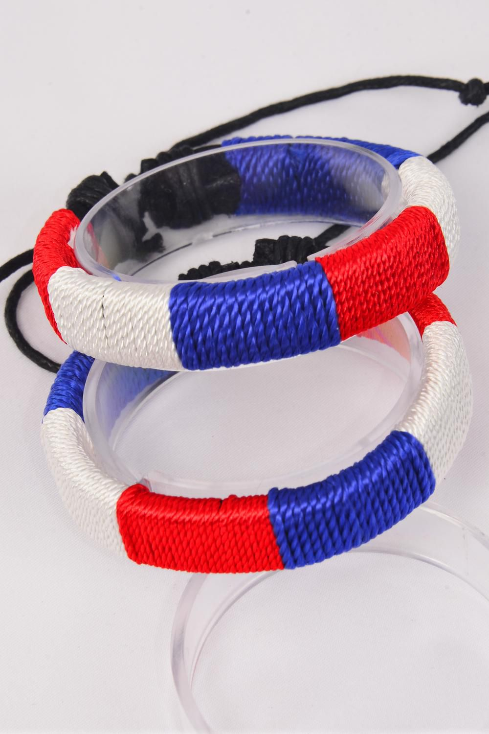 Bracelet Leather Leather Woven Style Ombre Flag Adjustable/DZ **Unisex** Adjustable,Hang tag & OPP Bag & UPC Code