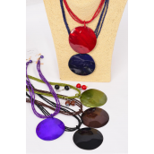 "Necklace Sets Real Seashell Pendant W Indian Beads/DZ **Dark Multi** 18"" Long,Pendant Size-2.5"",2 of each Color Mix,Hang Tag & OPP bag & UPC Code"