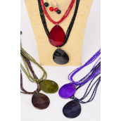 "Necklace Sets Seashell Pendant Teardrop  W Indian Beads/DZ **Dark Multi** 18"" Long,Pendant Size- 2.5""x 1.75"" Wide,2 of each Color Mix,Hang Tag & OPP bag & UPC Code"