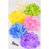 "Silk Flower Large Peony Pastel Alligator Clip/DZ **Pastel** Size-5"" Wide,Alligator Clip & Brooch,2 of each Color Asst,Display Card & UPC Code,W Clear Box"