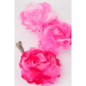 "Silk Flower Jumbo Tea Rose & Chiffon Mix pink Mix Alligator Clip/DZ **Pink Mix** Size-5"" Wide,Alligator Clip & Pin,4 Fuchsia,4 Hot Pink,4 baby Pink,3 Color Mix,Display Card & UPC code,W Clear Box -"