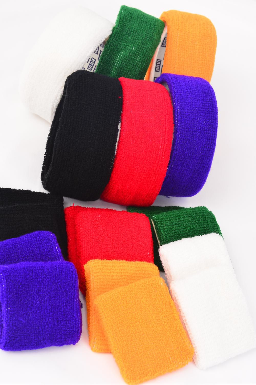 "Sweatband & Wrist Band Sets/DZ **Multi** Size Head Band-2""/5.08 cm,Wrist-2.5""x 5"" Wide,2 of each Color Asst,Individual OPP Bag ."