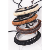 Bracelet Real Leather Band Woven Style Adjustable/DZ **Unisex** Adjustable,3 of each Color Mix,Hang tag & OPP Bag & UPC Code