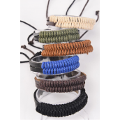 Bracelet Real Leather Band Woven Style Adjustable/DZ **Unisex** Adjustable,2 of each Color Mix,Hang tag & OPP Bag & UPC Code