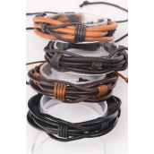 Bracelet Real Leather Band Woven Style Adjustable/DZ **Unisex** 3 of each Color Asst,Hang tag & OPP Bag & UPC Code
