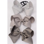"Hair Bow Cheer Type Bow Elastic Pony Gray Mix Grosgrain Bow-tie/DZ **Gray Mix** Size-8""x 7"",Elastic Pony,4 of each Color Asst,Clip Strip & UPC Code"
