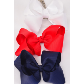 "Hair Bow Jumbo Red White Navy Mix Alligator Clip Grosgrain Fabric Bow-tie/DZ **Alligator Clip** Size-6""x 5"" Wide,4 White,4 Red,4 Navy Mix,Clip Strip & UPC Code,come W Clear Box -"