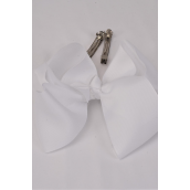 "Hair Bow White 6""x 5"" French Clip Grosgrain Bow-tie/DZ **White** French Clip-3"" Wide,Bow-6""x 5"" Display Card & UPC Code,W Clear Box"