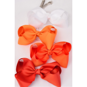 "Hair Bow Jumbo Orange Mix 6""x 5"" French Clip Grosgrain Fabric Bow-tie/DZ **Orange Mix** French Clip,Size-6""x 5"" Wide,3 of each Color Asst,Display & UPC Code,come W Clear Box -"