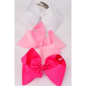 "Hair Bow Jumbo Pink Mix French Clip 6""x 5"" Grosgrain Fabric Bow-tie/DZ **Pink Mix** French Clip,Size-6""x 5"" Wide,3 of each Color Asst,Display Card & UPC Code,W Clear Box -"