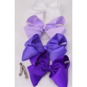 "Hair Bow Jumbo Purple Mix 6""x 5""  French Clip Grosgrain Fabric Bow-tie/DZ **Purple Mix** French Clip,Size-6""x 5"" Wide,3 of each Color Asst,Display & UPC Code,come W Clear Box -"