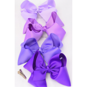 "Hair Bow Cheer Type Bow Purple Mix Alligator Clip Grosgrain Bow-tie/DZ **Alligator Clip** Size-8""x 7"",3 Of Each Color Asst,Clip Strip & UPC Code"