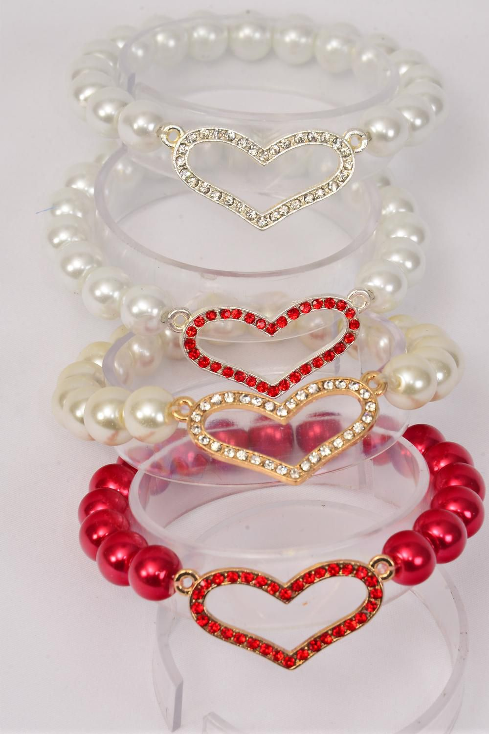 "Bracelet 10 mm Glass Pearl W Rhinestone Heart/DZ **Stretch** Heart Size-1.25""x 1"" Wide, 3 of each Color Asst,Hang Tag & OPP bag & UPC Code -"