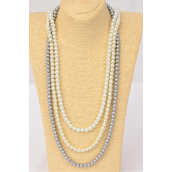 "Necklace 10 mm Glass Pearls 32 inch White Cream Gray Mix/DZ Size-32"" ,4 of each Color Asst, Hang Tag & Opp Bag & UPC Code"