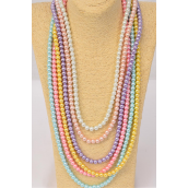 "Necklace 10 mm Glass Pearls 32 inch Pastel/DZ **Pastel** Size-32"" ,2 of each Color Asst, Hang Tag & Opp Bag & UPC Code"