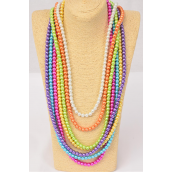 "Necklace 10 mm Glass Pearls 32 inch Multi/DZ **Multi** Size-32"" ,2 Fuchsia,2 Blue,2 Purple,2 Yellow,2 White,1 Orange,1 Lime,7 Color Asst, Hang Tag & Opp Bag & UPC Code"