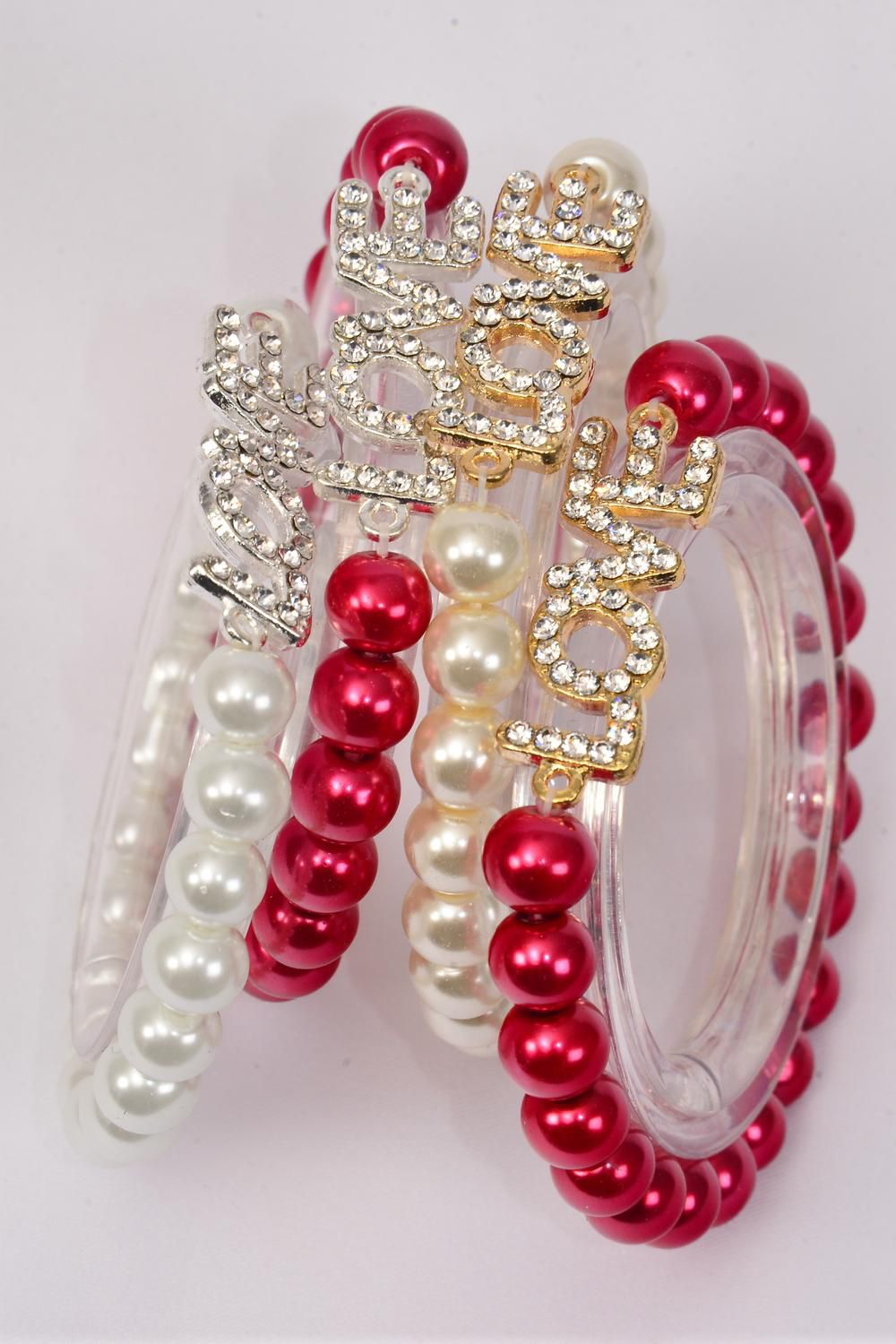 "Bracelet 10 mm Glass Pearl Rhinestone Love Word/sDZ **Stretch** Love Size-1""x 0.5"" Wide,3 of each Color Asst,Hang Tag & OPP bag & UPC Code"