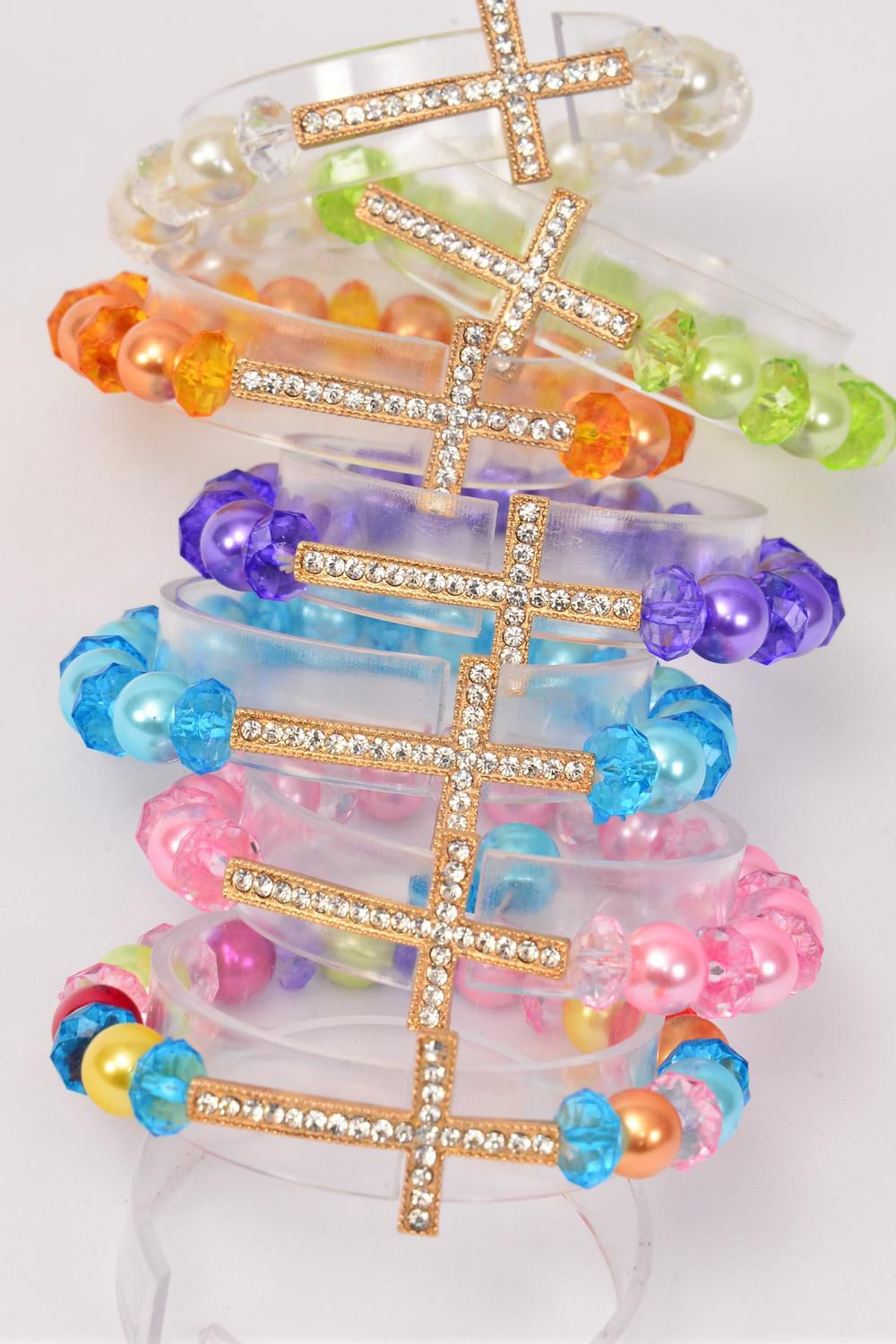 "Bracelet Glass Pearl 10 mm W Clear Rhinestone Sideways Cross/DZ **Stretch** Cross-1.75""x 1"" wide, 2 Multi,2 Purple,2 Cream,2 Pink,2 Blue,1 Lime,1 Orange,7 Color Asst,hang Tag & OPP bag & UPC Cod -"